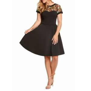 Sweetheart Neckline Black Fit & Flare Dress